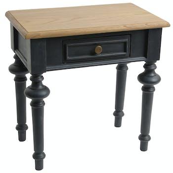 Bout de canapé en bois noir 1 tiroir style Louis XVI NEW LEGENDE  L50xP30xH50 AMADEUS
