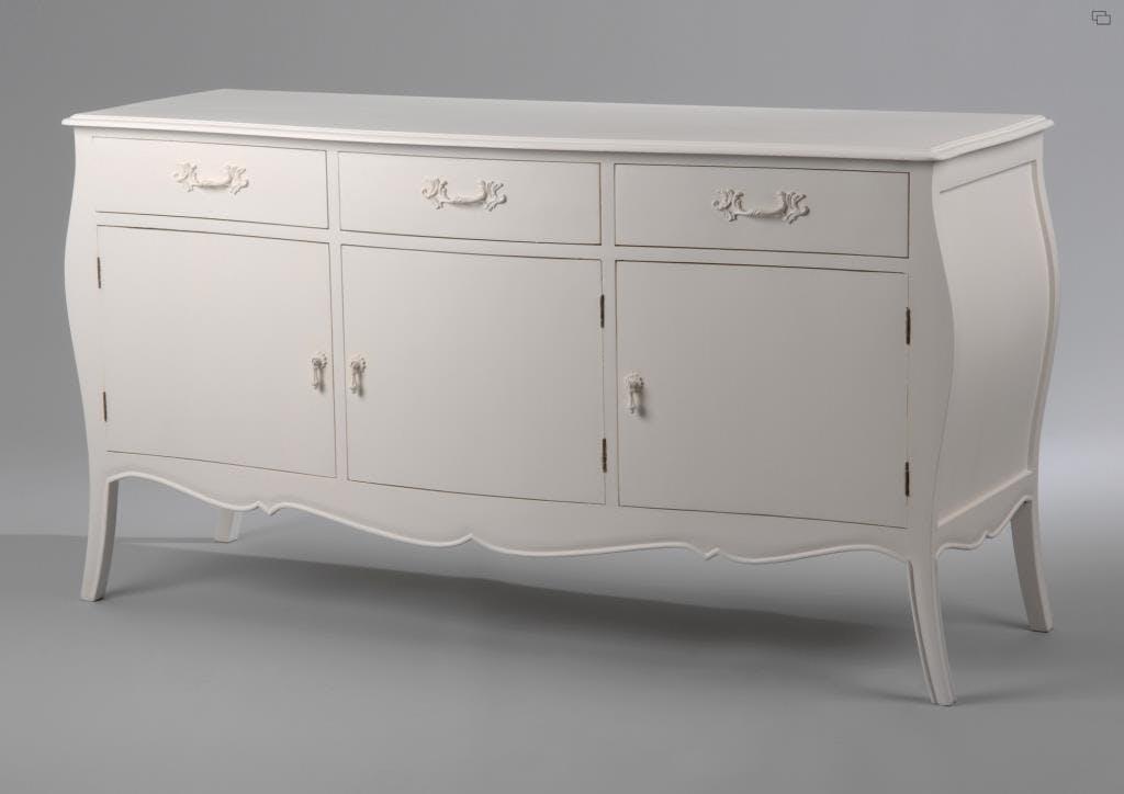 Buffet baroque romantique 3 portes en Acajou crème antique MURANO L150xP52xH80 AMADEUS