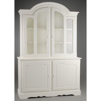 Buffet deux corps 220 cm romantique bois blanc 4 tiroirs APOLLINE L 147 x P 47 x  H 220 AMADEUS