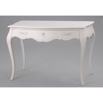 Bureau de chambre baroque romantique crème antique en Acajou 1 tiroir MURANO L 110 x P 55 x H 75 AMADEUS