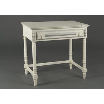 Bureau de travail classique bois ancien blanc 1 tiroir ORNEMENT L 80 x P 50 x  H 77 AMADEUS