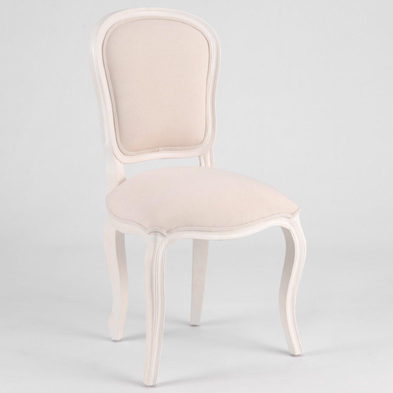 Chaise baroque romantique tissu et Acajou crème antique MURANO L 53 x P 56 x H 98 AMADEUS
