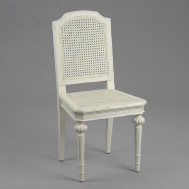 Chaise cannée Louis XV en bois blanc vieilli LEONIE L 50 x P 50 x  H 100 AMADEUS