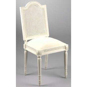 Chaise de chambre Louis XV cannée bois blanc et tissu Porquerolles L 47 x P 51 x  H 110 AMADEUS