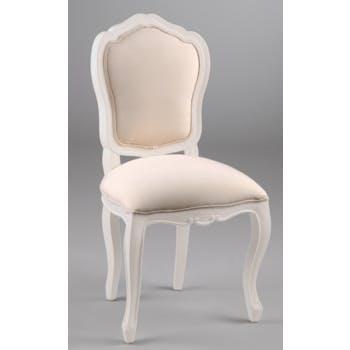 Chaise Louis XV baroque romantique bois blanc et tissu APOLLINE L 52 x P 51 x  H 100 AMADEUS