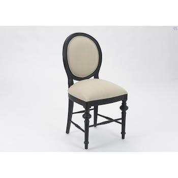 Chaise Louis XVI bois noir et tissu gris NEW LEGENDE L50xP53xH96 AMADEUS