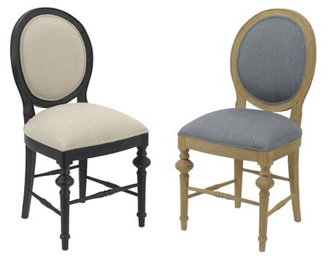 Chaise Louis XVI bois vieilli et tissu beige LEGENDE L50xP53xH96 AMADEUS