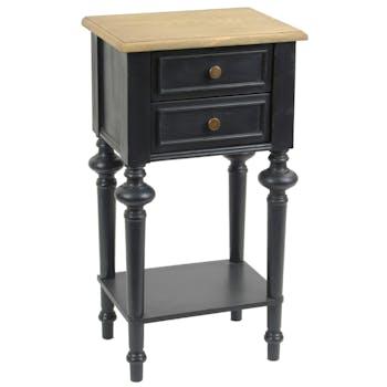Chevet Louis XVI en bois bicolore noir 2 tiroirs NEW LEGENDE L40xP30xH75 AMADEUS