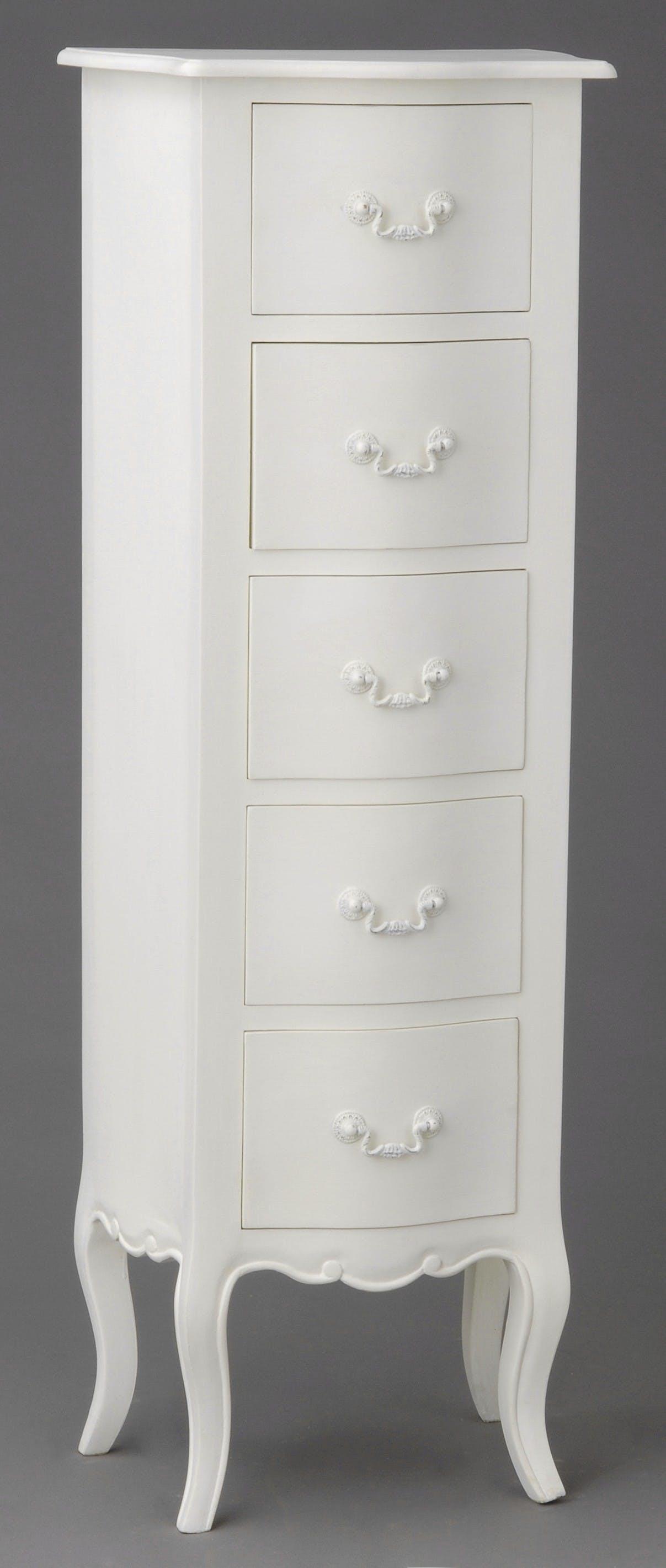 Chiffonnier 5 tiroirs romantique Acajou blanc APOLLINE L 40 x P 30 x H 115 AMADEUS