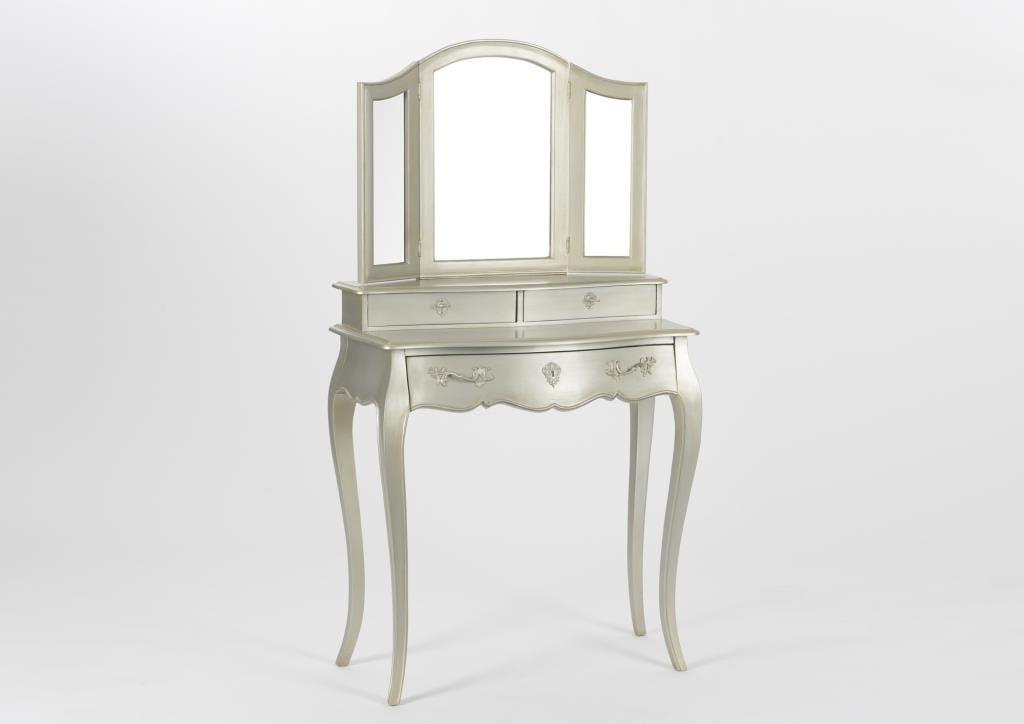 Coiffeuse 3 miroirs baroque argent antique en bois 3 tiroirs MURANO L 80 x P 40 x  H 145 AMADEUS