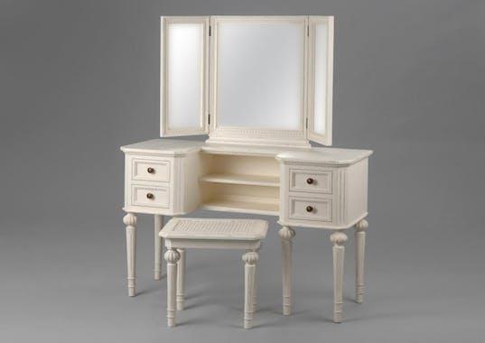 Coiffeuse 3 miroirs en bois blanc vieilli classique LEONIE L 113 x P 40 x  H 137 AMADEUS