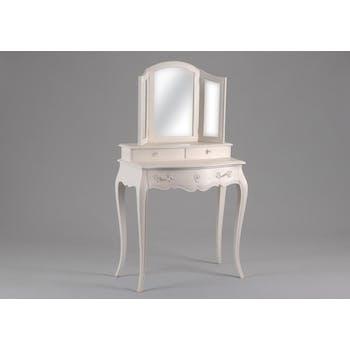 Coiffeuse 3 miroirs romantique crème antique 3 tiroirs MURANO L80x P40xH145 AMADEUS