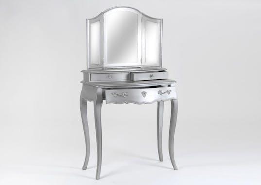Coiffeuse baroque argentée 3 miroirs en bois 3 tiroirs MURANO L 80 x P 40 x  H 145 AMADEUS