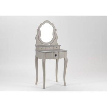 Coiffeuse baroque grise en bois 4 tiroirs Grand Siècle L60x P45xH145 AMADEUS