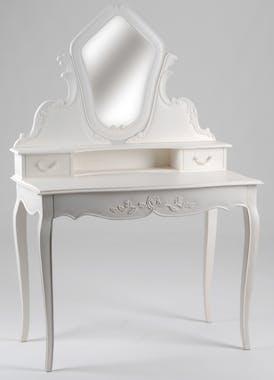 Coiffeuse baroque romantique en Acajou blanc 3 tiroirs Amandine  L 100 x P 50 x H 150 AMADEUS