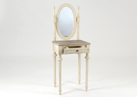 Coiffeuse miroir en bois ancien 1 tiroir LEGENDE L50xP40xH137 AMADEUS