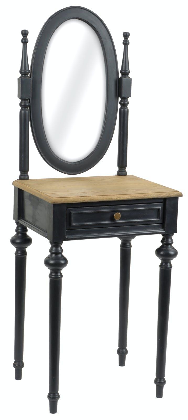 Coiffeuse pour chambre noire en bois ancien 1 tiroir NEW LEGENDE L50xP40xH137 AMADEUS