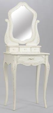 Coiffeuse shabby romantique en bois vielli blanc 4 tiroirs COMTESSE L 60 x P 40 x  H 155 AMADEUS