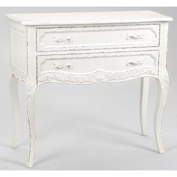 Commode 2 tiroirs shabby 90 cm en bois blanc COMTESSE L 90 x P 40 x  H 80 AMADEUS