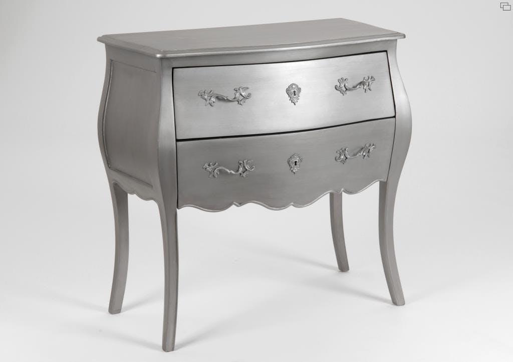Commode argentée baroque 2 tiroirs en bois 80 cm MURANO L 80 x P 40 x  H 80 AMADEUS