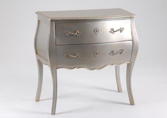 Commode baroque argent antique 2 tiroirs en bois 80 cm MURANO L 80 x P 40 x  H 80 AMADEUS