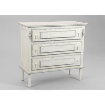 Commode blanche bois vieilli classique 3 tiroirs 90 cm ORNEMENT L 90 x P 40 x  H 85 AMADEUS
