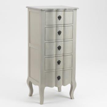 Commode chiffonnier baroque bois gris 5 tiroirs Grand Siècle L50xP40xH110 AMADEUS