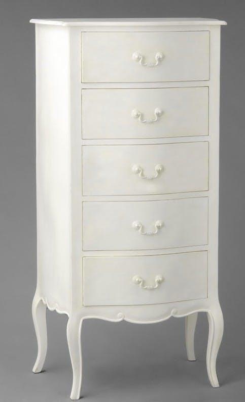 Commode chiffonnier romantique Acajou blanc 5 tiroirs APOLLINE L 65 x P 46 x H 130 AMADEUS