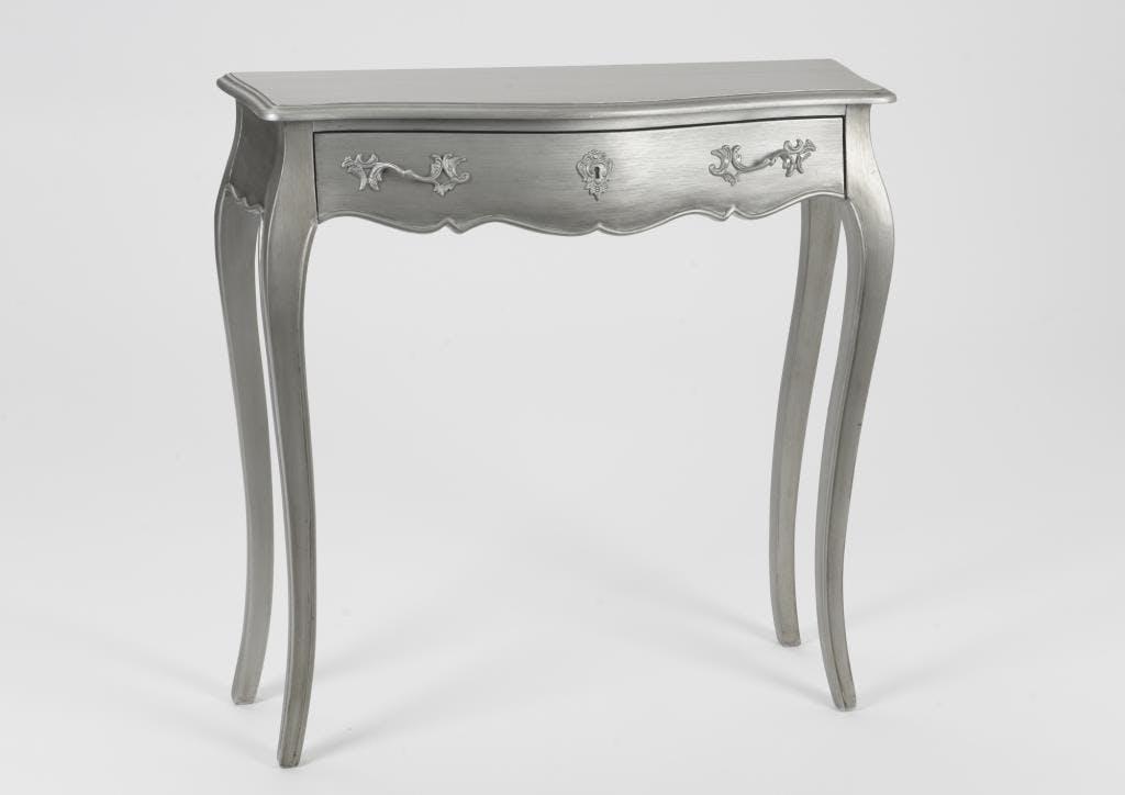 Console à tiroir baroque argentée Louis XV 80 cm MURANO L80xP25xH80 AMADEUS