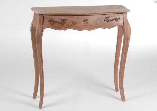 Console d'entrée bois brut baroque à tiroir 80 cm MURANO L 80 x P 25 x  H 80 AMADEUS