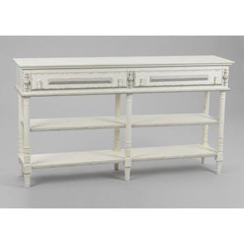 Console d'entrée bois vieilli blanc 145 cm 2 tiroirs ORNEMENT L 145 x P 35 x  H 80 AMADEUS