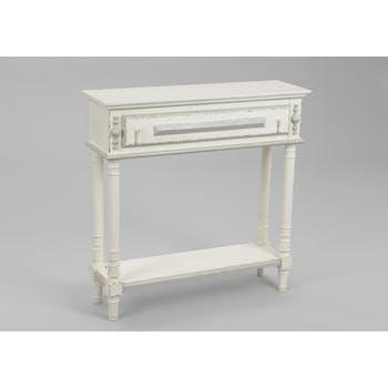 Console blanche bois vieilli 80 cm à tiroir ORNEMENT L 80 x P 25 x  H 80 AMADEUS