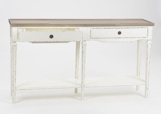 Console Louis XVI en bois blanc vieilli 145 cm GUSTAVE  L 145 x P 35 x  H 80 AMADEUS