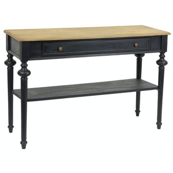 Console Louis Philippe à tiroir en bois noir NEW LEGENDE L120xP40xH80 AMADEUS