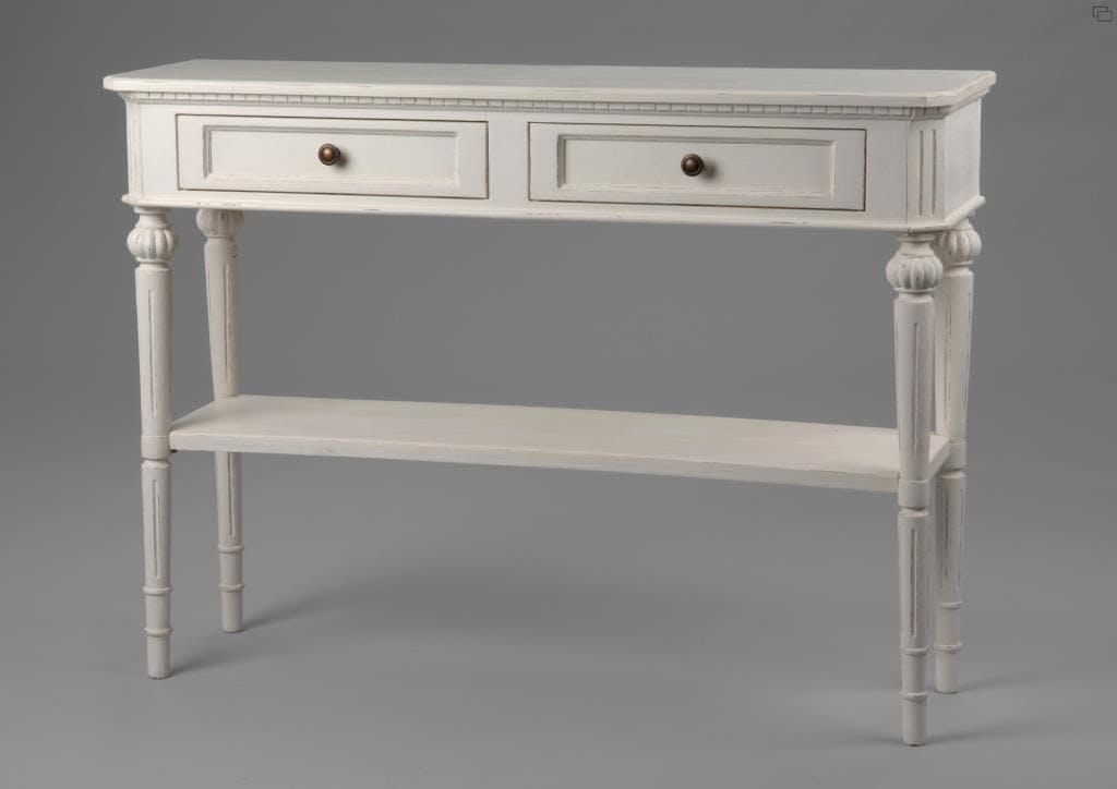 Console romantique 110 cm bois vieilli blanc 2 tiroirs LEONIE L 110 x P 30 x  H 80 AMADEUS