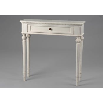 Console romantique bois vieilli blanc Louis Philippe 80 cm LEONIE L 80 x P 17 x  H 80 AMADEUS