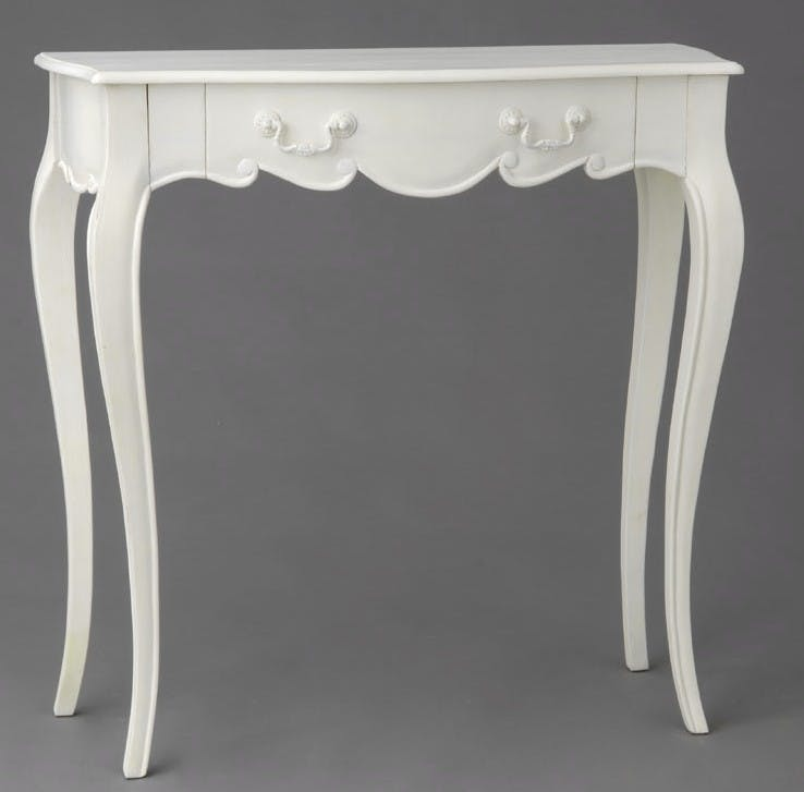 Console romantique Louis XV 1 tiroir Acajou blanc APOLLINE L 80 x P 35 x H 80 AMADEUS