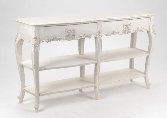 Console shabby 140 cm bois vieilli blanc 2 tiroirs LOUISE L 140 x P 35 x  H 80 AMADEUS