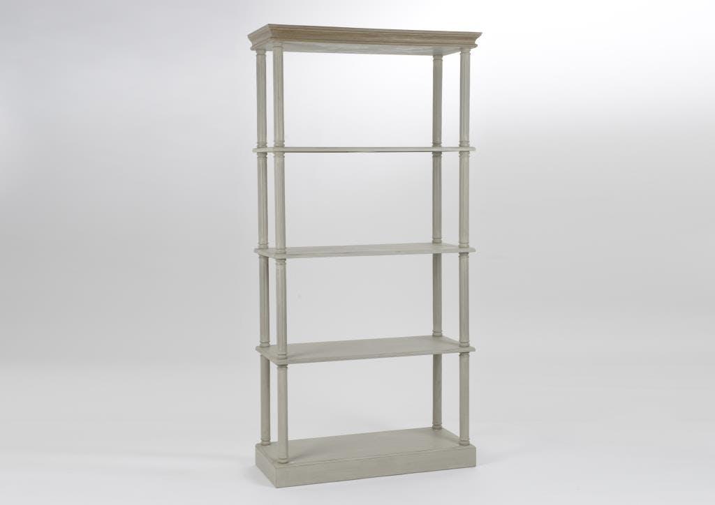 Bibliothèque étagère en bois gris clair 100cm EDOUARD L100xP40xH200 AMADEUS