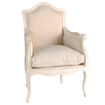 Fauteuil romantique Louis XV  Acajou blanc et tissu APOLLINE L67xP59xH97 AMADEUS