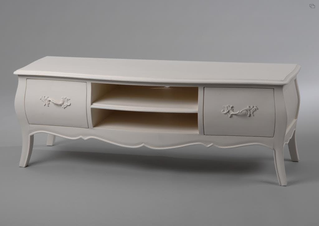 Meuble TV baroque crème antique 2 tiroirs MURANO L120xP40xH43 AMADEUS