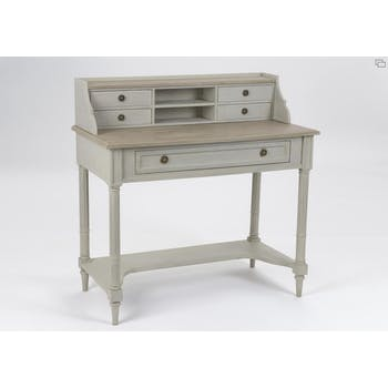 Secrétaire bureau bois ancien gris clair 5 tiroirs EDOUARD L 100 x P 50 x  H 100 AMADEUS