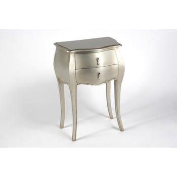 Table d'appoint argent antique baroque en bois 2 tiroirs MURANO L 50 x P 35 x  H 75 AMADEUS