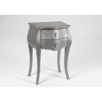 Table d'appoint baroque argentée en bois 2 tiroirs MURANO L 50 x P 35 x  H 75 AMADEUS