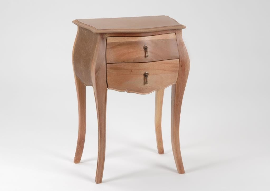 Table d'appoint baroque bois brut 2 tiroirs MURANO L 50 x P 35 x  H 75 AMADEUS