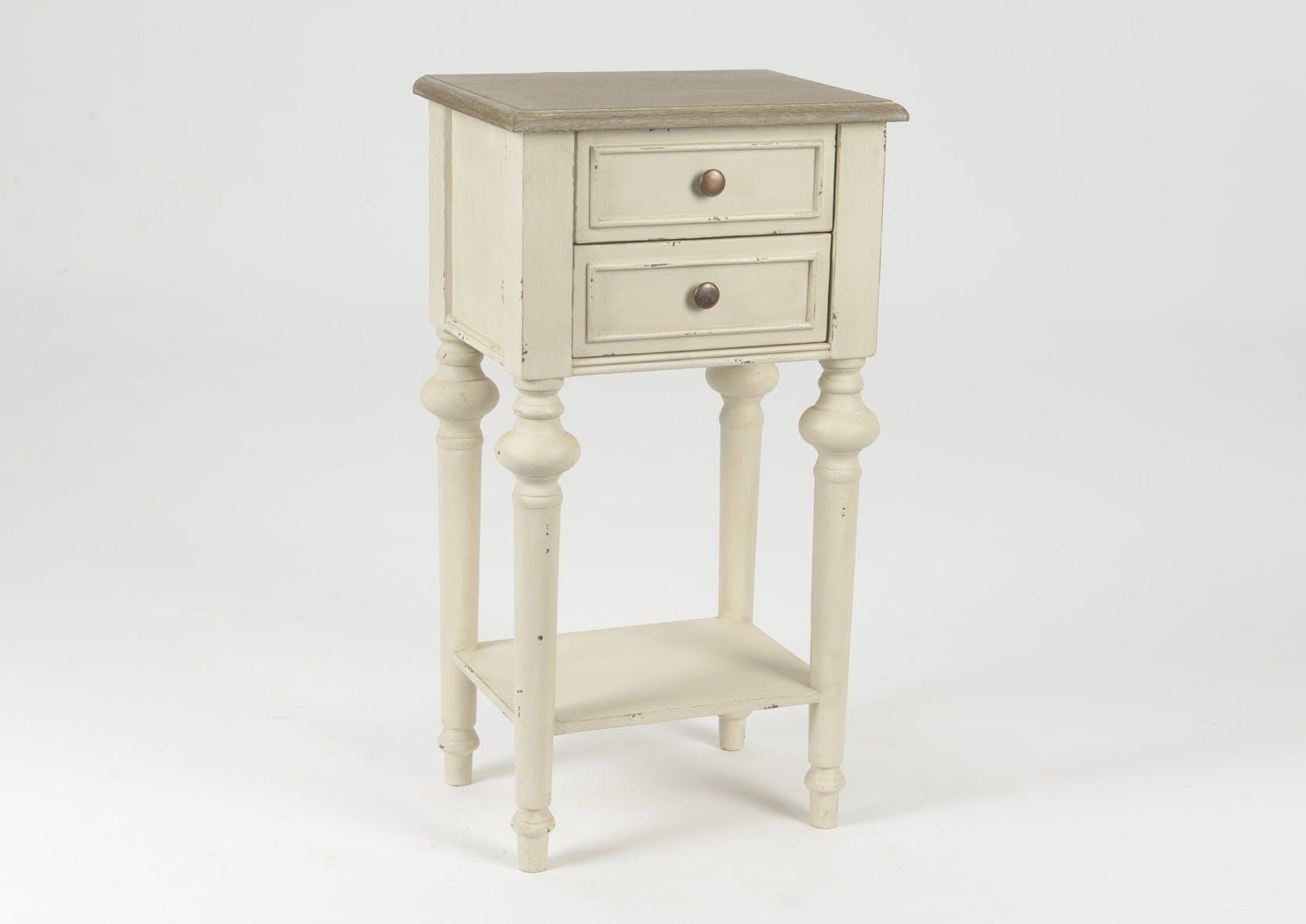 Table d'appoint en bois vieilli bicolore 2 tiroirs style Louis XVI LEGENDE L40xP30xH75 AMADEUS