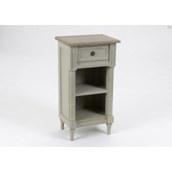 Table d'appoint en bois vieilli gris 1 tiroir EDOUARD L 40 x P 30 x  H 75 AMADEUS