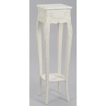 Sellette porte plante 100 cm bois vieilli blanc shabby COMTESSE L 30 x P 30 x  H 100 AMADEUS