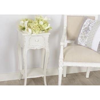 Sellette vasque romantique en bois vieilli blanc COMTESSE L 40 x P 30 x  H 75 AMADEUS