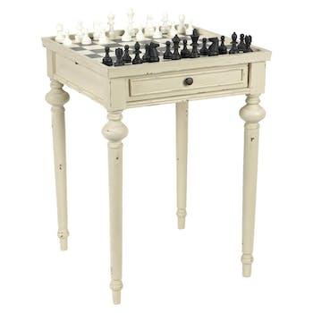 Table échiquier en bois vieilli blanc 1 tiroir LEGENDE L55xP55xH76 AMADEUS